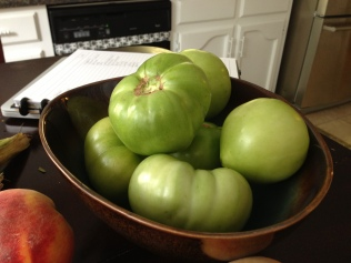 Green tomatoes destined for some batter and hot oil.