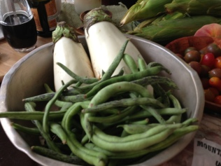 Rattlesnake beans and white eggplant