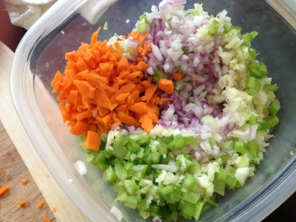 So I chopped up a mirepoix...