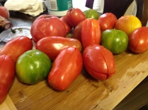 peeled, cored, and seeded some tomatoes (a mix of heirloom and romas)