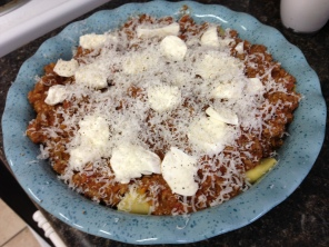 Topped it with the bolognese sauce I'd made, some fresh mozzarella and parm.